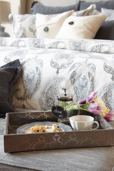 Breakfast in bed in bright and modern bed room designed with style featuring patterns.