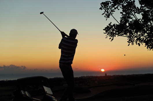 Cyprus, Man playing golf on golf course