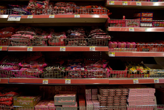 Pink Colored Candy Aisle At A Supermarket On Valentine\'S Day