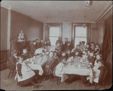 Children In A School Dining Room.