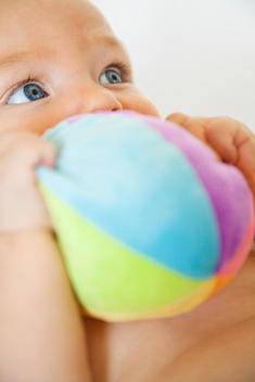 Baby chewing on stuffed toy