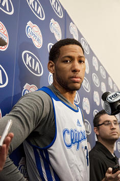 Clippers player, Danny Granger, stands confidently in front of the media before a game