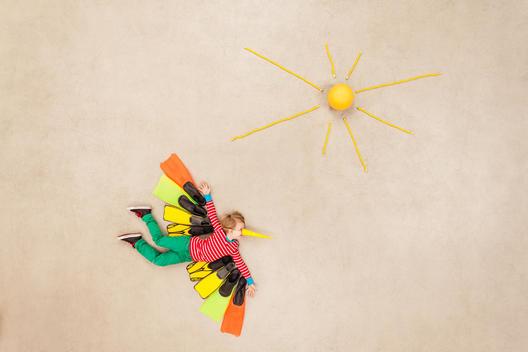 Colorful bird flying towards the sun