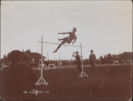 A Crowd Of Spectators Watch Mike Sweeney Of The New York Athletic Club Doing The High Jump (6\'-6\