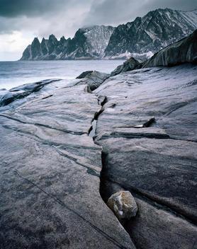 Landscape Of Mountains And Coast, Senja Island Norway