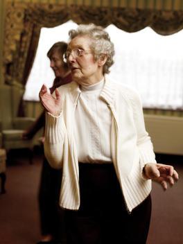 Senior Women Of Caucasian Appearance Dancing In Retirement Home