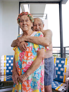 Senior Couple Hugging In Florida.