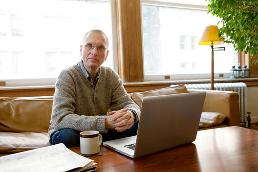 Senior Man Working On Laptop, Portrait