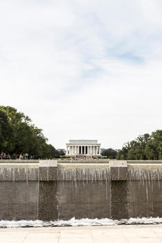 A view of The Lincoln Memorial, seen from the National World War II Memorial, Washington, D.C.