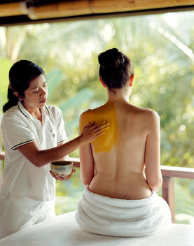 Woman Indulging In A Spa Treatment,Begawan Giri, Ubud, Bali, Indonesia.
