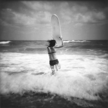 Girl Surfing, Florida Beach