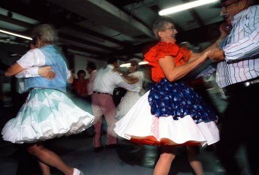 A Group Of Elderly Americans On The Dance Floor During A Dance Night At The Senior Citizen'S Centre In Quartzsite.