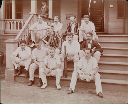 Cricket Team Seated On The Steps Of A Building Of The Livingston Cricket Club, Staten Island, N.Y.