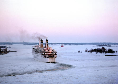 Baltic Sea, ship in snowy water