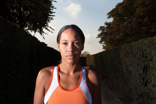 Portrait of athletic woman in Jardin des Tuileres