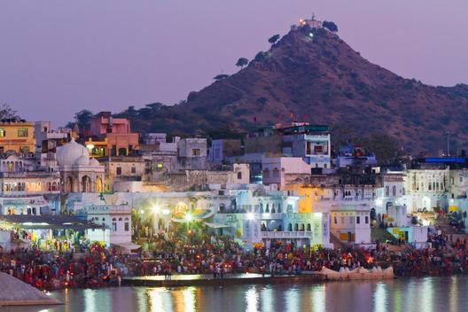 People enjoying Indian waterfront at night