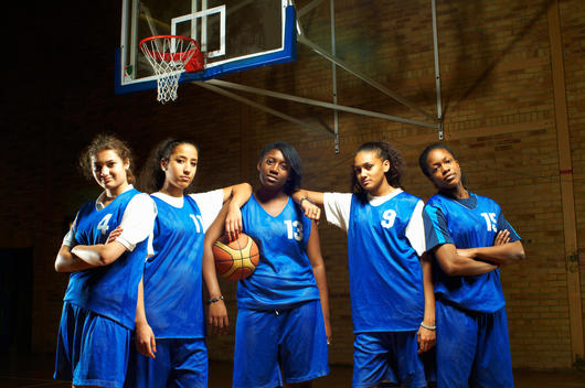 Portrait of female basketball team