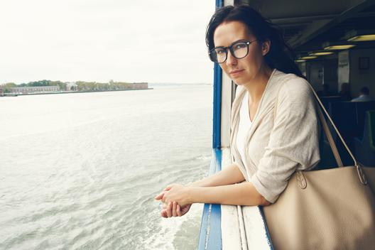 Woman travel by ferry boat