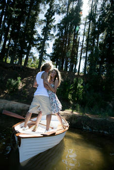 Fashion Image, Fairytale, Or Couple In Rowboat