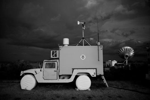 Huachuca City, Arizona USA August 23, 2007 The support team for the Predator, fly the unmanned drown from this mobile vehicle on the ground. It is one of the high tech instruments being used by the US Border Patrol to monitor the US Mexican border at nigh