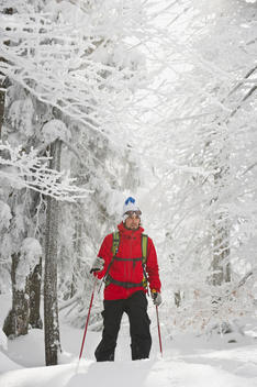 Germany, Bavaria, Young man doing telemark skiing in Herzogstand mountain forest