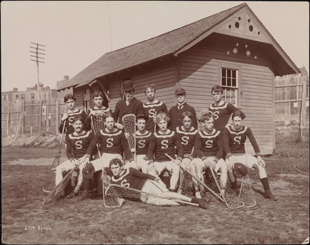Group Portrait Of The Stevens Institute Of Technology Lacrosse Team At A Match With Harvard In Hoboken, N.J.