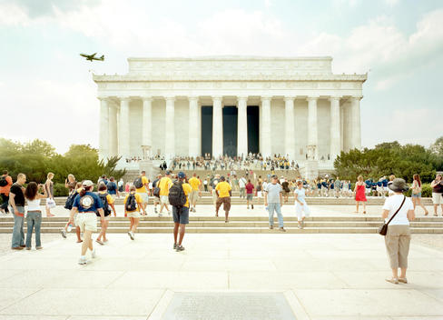 From The Monumental Project. Tourists Visiting The Lincoln Memorial In The Summer.