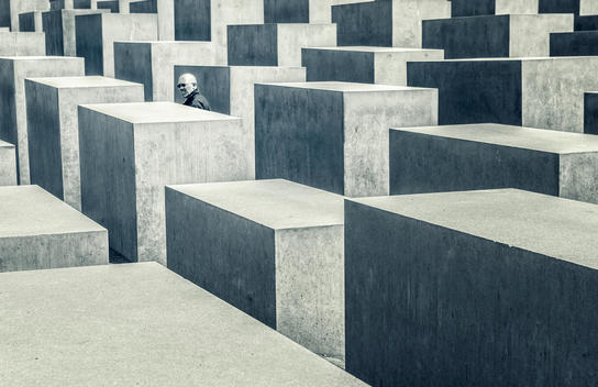 Memorial to the murdered jews of europe with a man