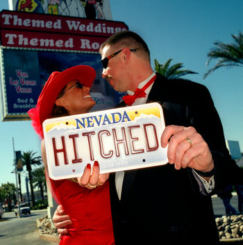 Newlyweds from Texas who married at Viva Las Vegas Wedding chapel in Las Vegas on Valentines Day.