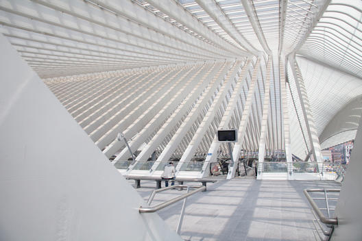 Pillars under ceiling in modern train station