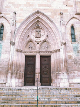 Side portal of the Gothic Cathedral of St. Peter, Regensburg, Bavaria, Germany, UNESCO world heritage