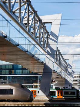 Under view of Akrobaten bridge with airport express train, Oslo, Ramboll, L2 Arkitekter