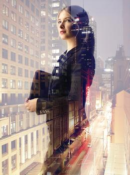 Studio Portrait,business,girl,woman,citylights,reflections,city
