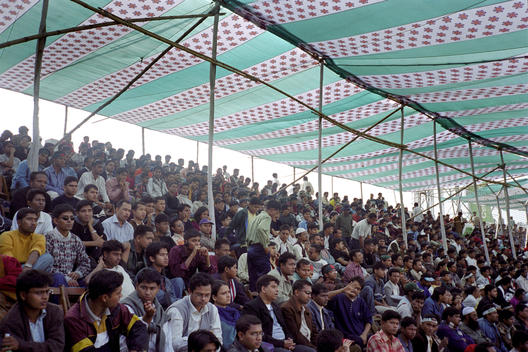 Cricket Crowd Watching Match, Fabric And Wood Roof Canopy