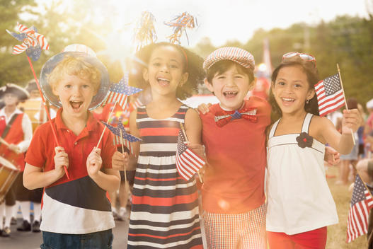 Children celebrating Fourth of July together