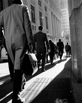 Business Men Walking Up Broadway.