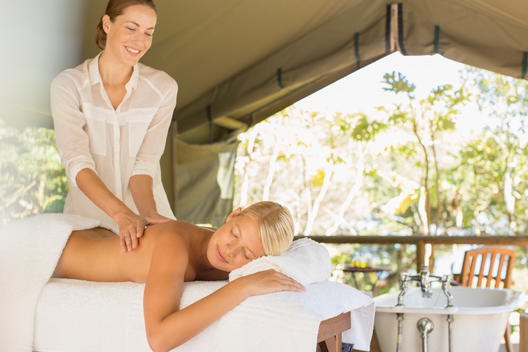 Woman having massage in spa