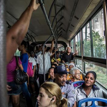 Inside a public bus in Havana