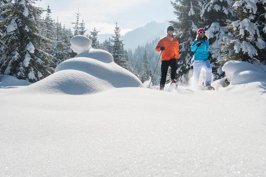 Austria, Salzburg State, Altenmarkt-Zauchensee, Couple snowshoeing in winter landscape