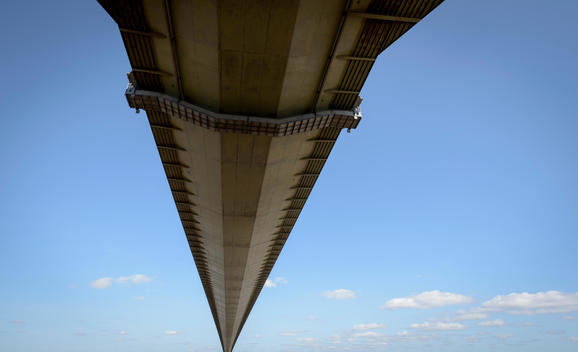 View of the underside of suspension bridge. The Humber Bridge, UK was built in 1981 and at the time was the world\'s largest single-span suspension bridge