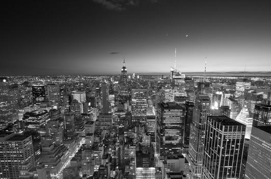 New York City skyline at night, from Top of the Rock, black and white