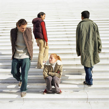 Young people on steps