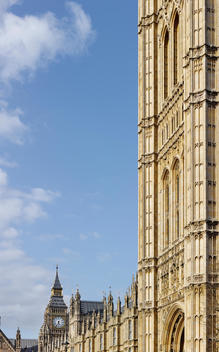 Gothic architecture at the Houses of Parliament, London