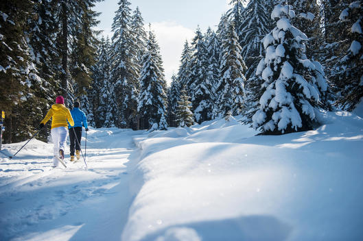 Austria, Salzburg Country, Altenmarkt-Zauchensee, Young couple cross-country skiing