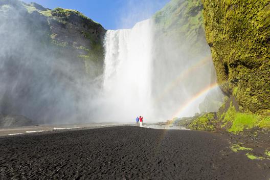Rainbows at Skogafoss waterfall