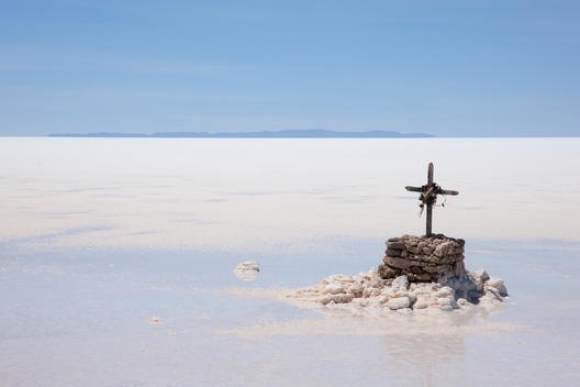 A memorial for one who perished while driving on the Salar de Uyuni, Bolivia