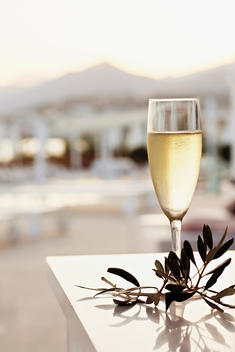 Glass of Champagne at Sunset