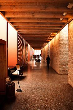 Corridor inside spa retreat in a luxury spa hotel located in Sedona, Arizona.