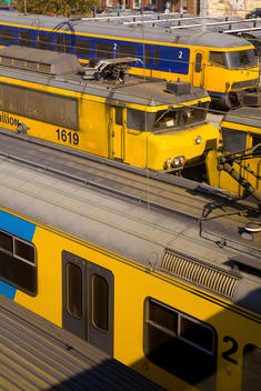 Trains in busy train station