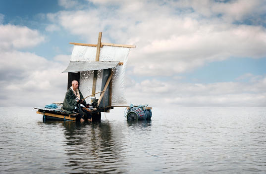 old man on raft at sea